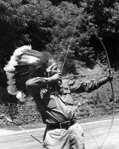 Indian brave with bow and arrow, Cherokee, North Carolina
