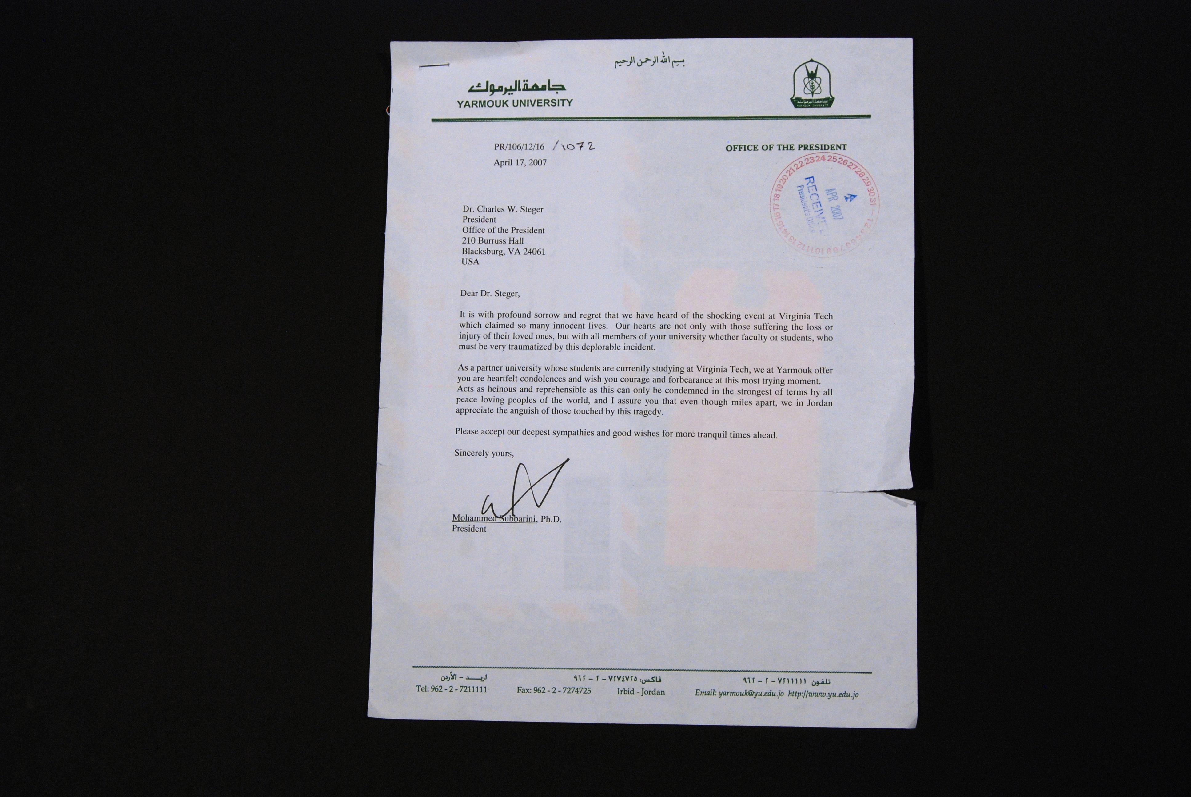 Letter from the President of Yarmouk University