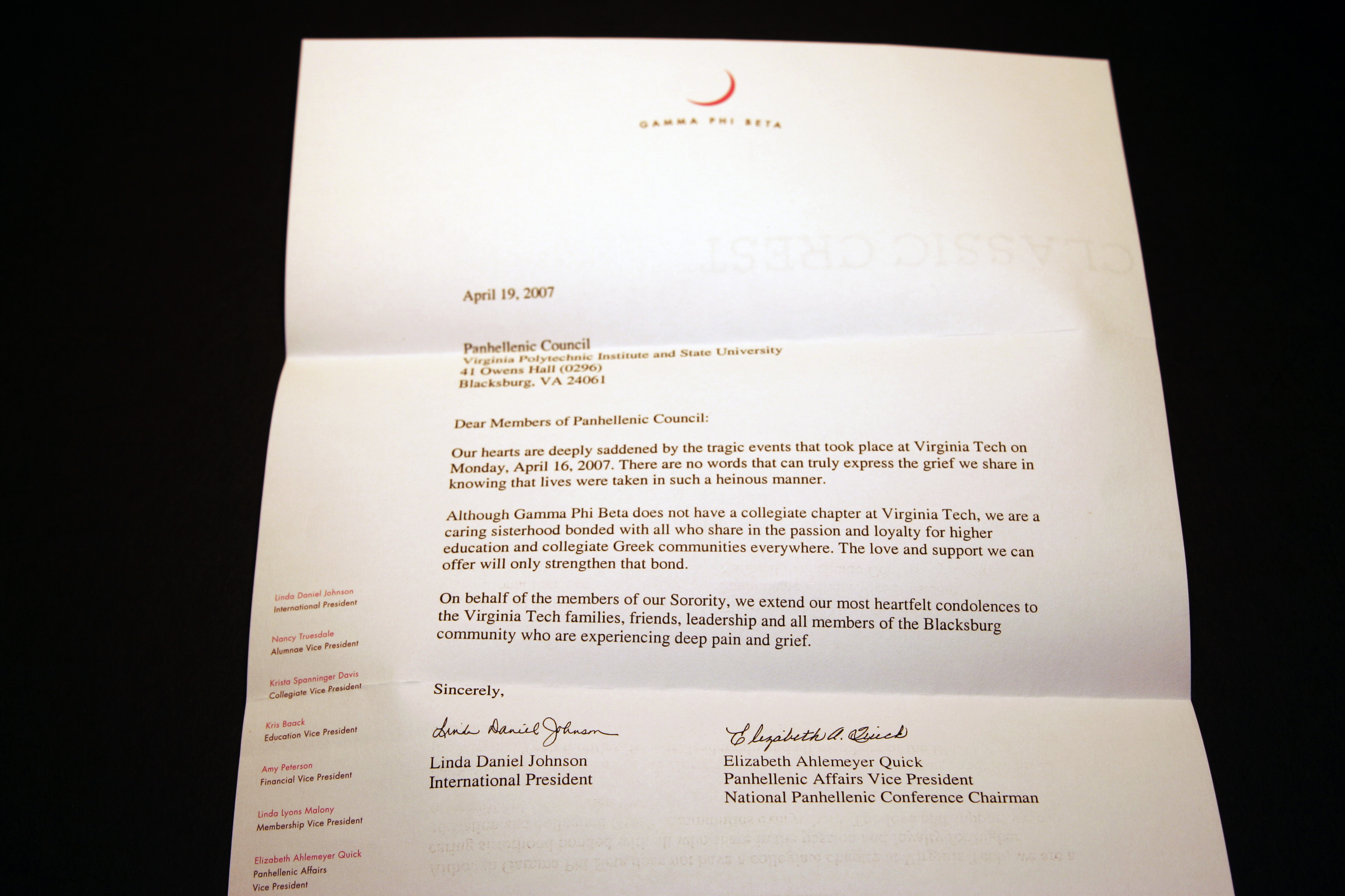 Letter from Gamma Phi Beta