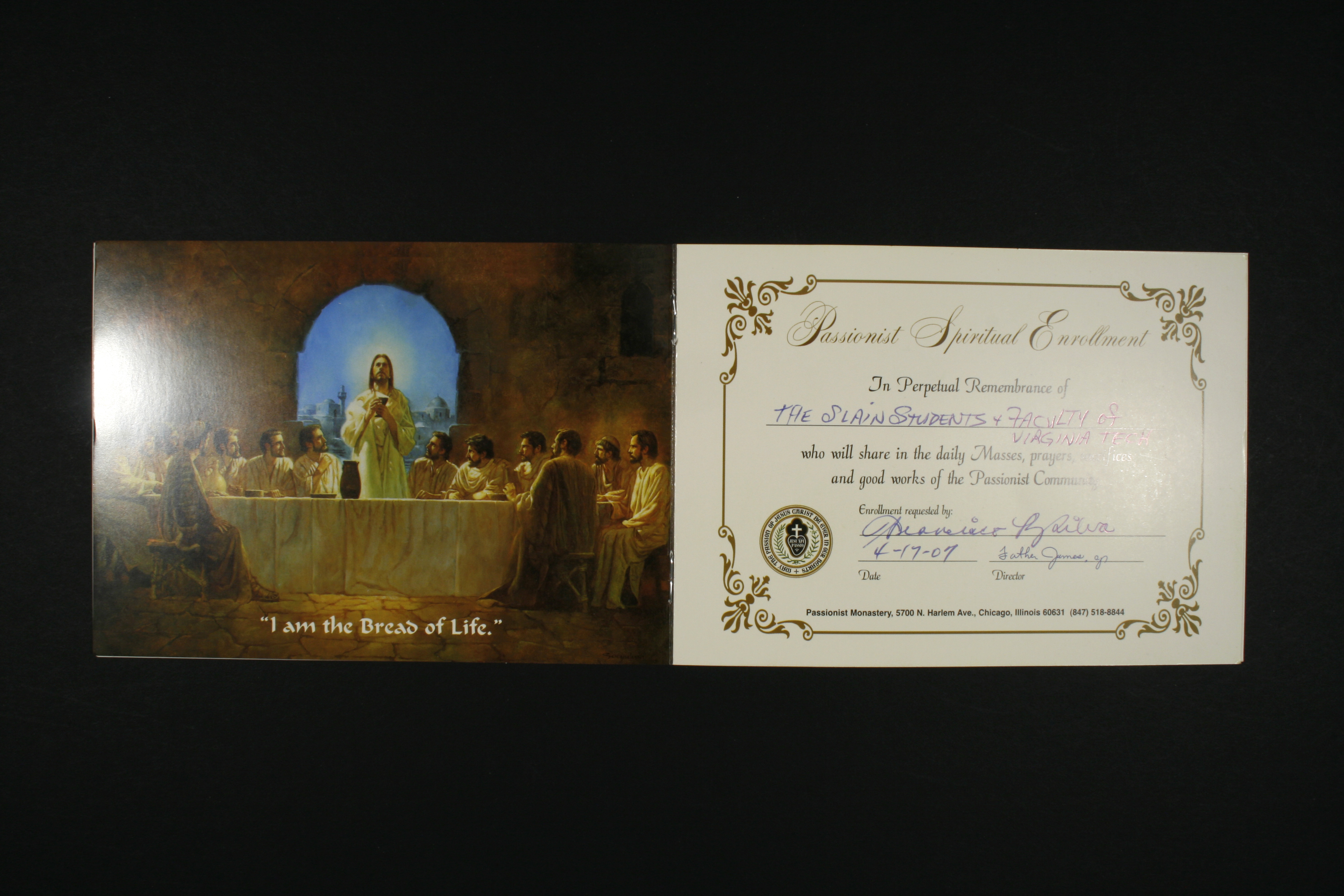 Mass Card from Passionist Monastery
